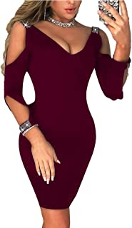Women's Sexy Dress V Neck Off Shoulder Evening Dresses Bodycon Long-Sleeved Dress Solid Color Midi Length