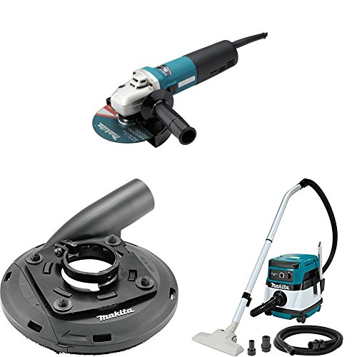 "Makita 9566CV 6"" SJS Cut-Off/Angle Grinder, 195236-5 4-1/2""-5"" Dust Extraction Surface Grinding Shroud, XCV04Z 18V X2 LXT (36V) 2.1 Gallon HEPA Filter Dry Dust Extractor/Vacuum"