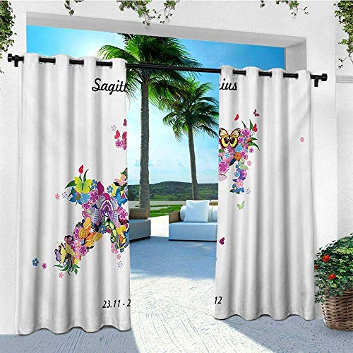 leinuoyi Zodiac Sagittarius, Outdoor Curtain Set of 2 Panels, Blossoming Arrow Shape Flowers and Butterflies Flourishing Nature Design, for Gazebo W120 x L96 Inch Multicolor