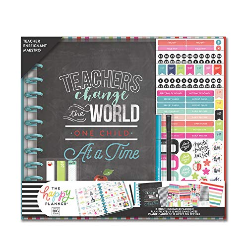 me & my BIG ideas The Happy Planner Box Kit - Teacher's Change World Theme - 12 Month Undated - Vertical Layout - 1 Folder, 13 Dividers, 634 Stickers, 3 Sticky Note Pads - Big Size