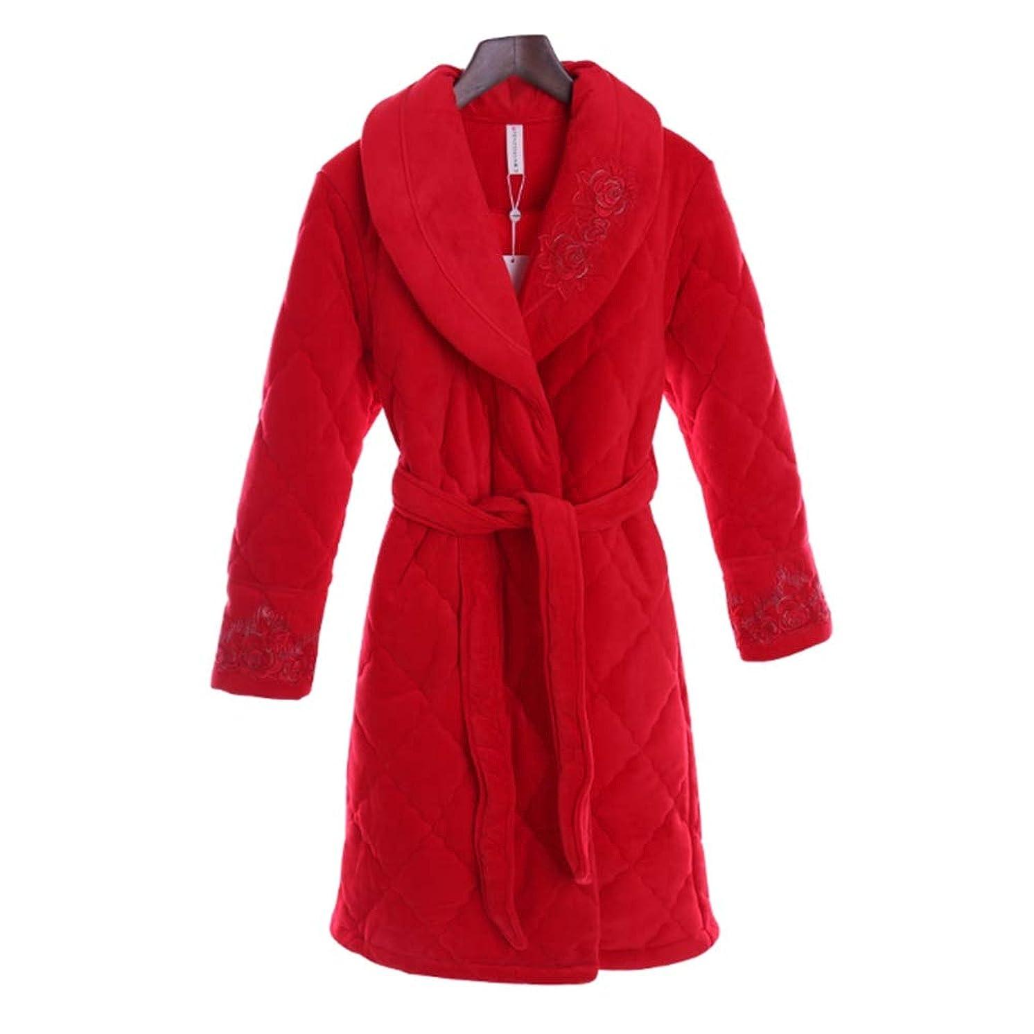 椅子パッドご覧くださいNAN liang 赤いバスローブ女性の高級ローブ綿100%バスローブ三層トラックスーツ厚く暖かいナイトガウン (サイズ さいず : M)