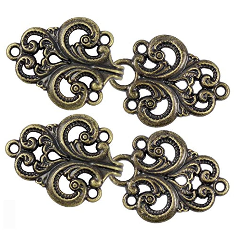 Bezelry 4 Pairs Swirl Flower Cape or Cloak Clasp Fasteners. 65mm x 28mm Fastened. Sew On Hooks and Eyes Cardigan Clip (Antique Brass)