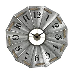 Sterling Industries Elk Lighting Aluminum Wall Clock, 29 W x 29 H, Galvanized Metal/Natural Rope