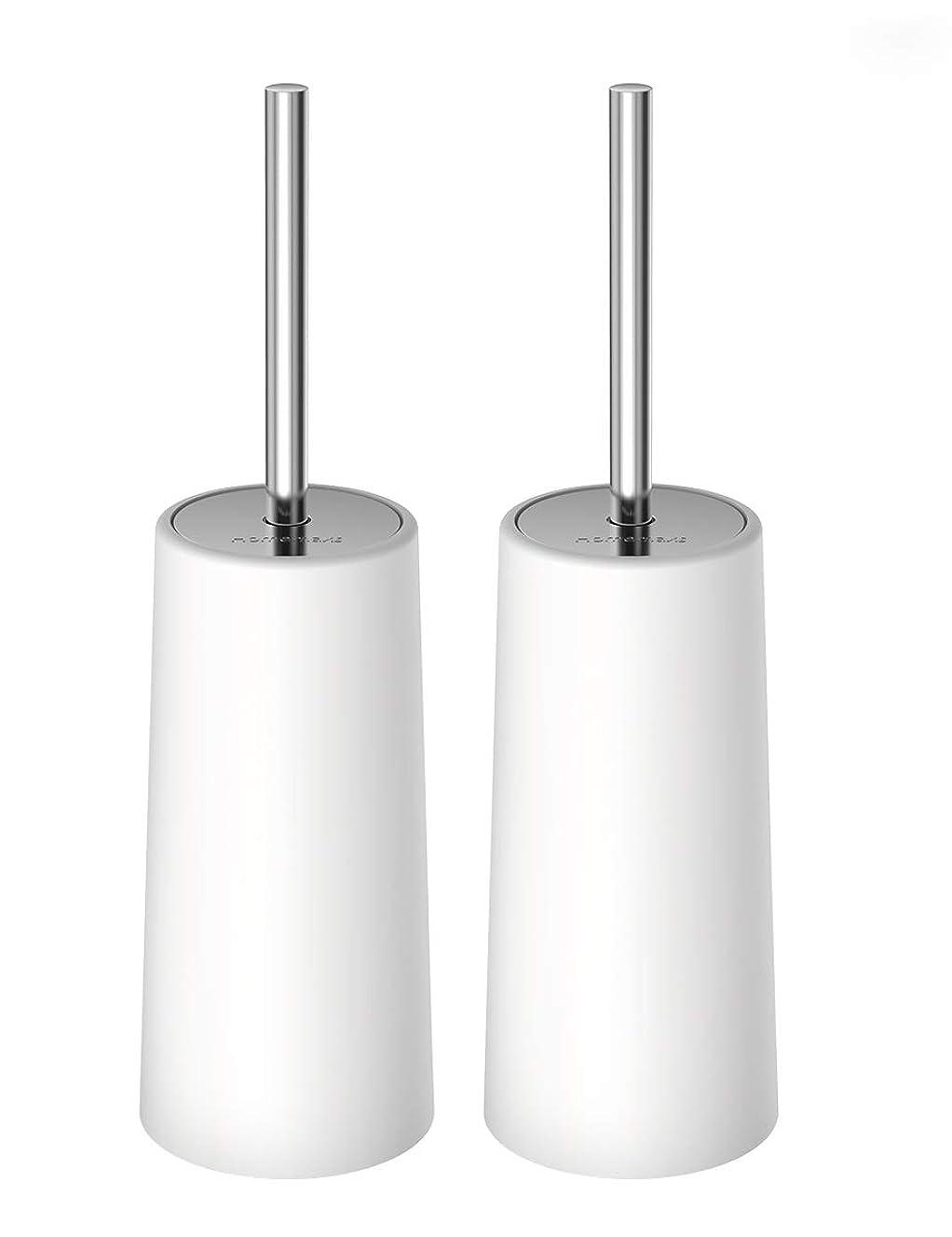 一貫した親指限りHOMEMAXSトイレブラシ 2本セット ケース付き 水はね防止 360度植毛 トイレ掃除用品 コンパクト スッキリ収納 衛生なデザイン 清潔簡単