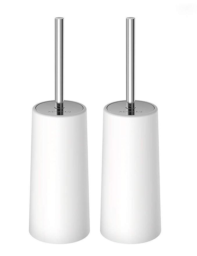 蓮困惑する新年HOMEMAXSトイレブラシ 2本セット ケース付き 水はね防止 360度植毛 トイレ掃除用品 コンパクト スッキリ収納 衛生なデザイン 清潔簡単