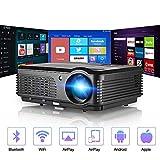 DBGS Bluetooth Wireless-Projektor, WiFi 4400 Lumen Unterstützung 1080P intelligenter Android Videoprojektor, Zoom LCD LED Heimkino-HD Outdoor-Film für Smartphone DVD Spielkonsolen Laptop