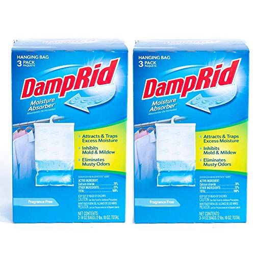 DampRid 42 oz. Fragrance Free Hanging Bag (3-Pack Box) (Pack of 2), 42oz 2 Pack