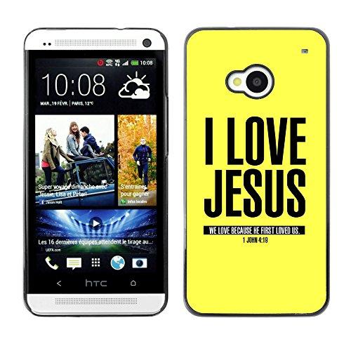 DREAMCASE (NICHT HTC ONE MINI M4) Bibelzitate Bild Hart Handy Schutzhülle Schutz Schale Case Cover Etui für HTC ONE M7 - Ich liebe Jesus - Johannes 4,19
