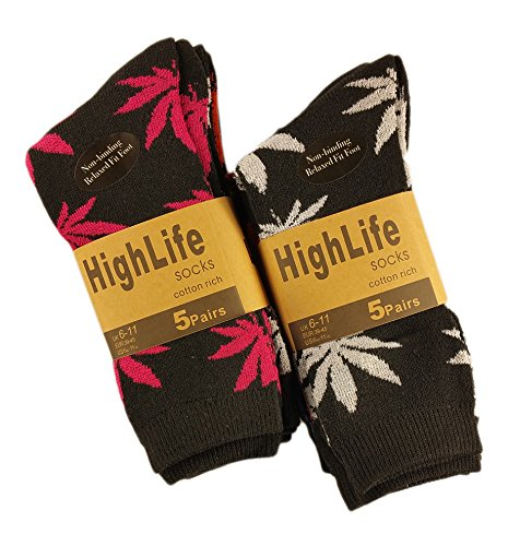 Sockstack 10 Pairs Of Designer High Life Socks Ganja Leaf Weed Comfort Fit Socks Size 6-11 (10 x Black)