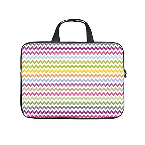 Patrón geométrico de onda de diamante bolso de ordenador portátil diseño de la caja de la vendimia impermeable portátil bolso con asa portátil para las mujeres hombres blanco 10 pulgadas