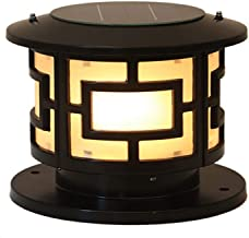 W&YAN IP44 Waterproof Rainproof Outdoor Solar Energy Column Lamp LED Glass Lantern Chinese Retro Aluminum Metal Post Pilla...