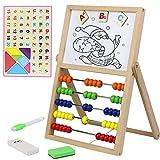 Juguetes Montessori Abaco Pizarra Blanca Puzzle Infantil Magnetica Tablero de Madera Doble Cara con Magnético Numeros Letras de Madera Tangram Infantil Juegos Educativos Regalos para Niños 3 4 5 Años