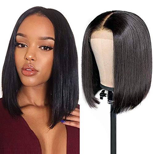 13x4 Lace Front Perücken Straight Bob Wigs 150% Density Short Bob Wigs With Baby Hair Pre Plucked Full Head Weave Human Hair Wigs Natural Black Color 12 Inch