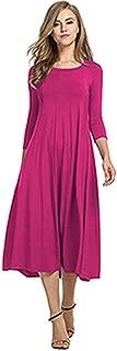 feilongzaitianba Women Cotton Linen Vintage Dress Casual Loose Long Draped Dresses Plus Size Large Size Party Dresses