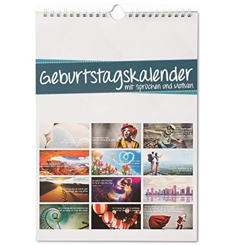 Geburtstagskalender mit Sprüchen und Motiven I jahresunabhängig I Dauerkalender mit Spiralbindung für die ganze Familie I dv_609