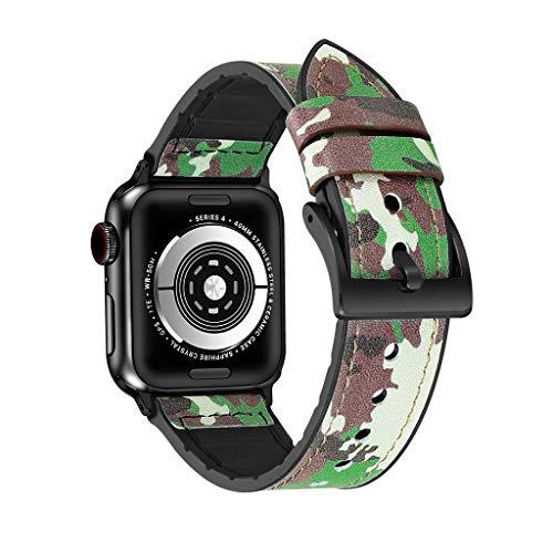 Transer Bracciale in Cinturino con Cinturino in Pelle + TPU per Apple Watch Series 4 40mm (Green)