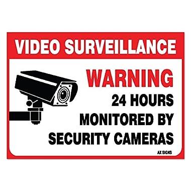 (6 Pack) Video Surveillance Sign - Decal Self Adhesive   2½ X 3½  4 Mil Vinyl Decal — Indoor & Outdoor Use — UV Protected & Waterproof — Sleek, Rounded Corners