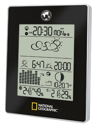 National Geographic Draadloos weerstation met buitensensor, weerexpert met weergave van tijd, weersvoorspelling, zonsopgang en ondergang, maanfase, luchtvochtigheid en luchtdruk
