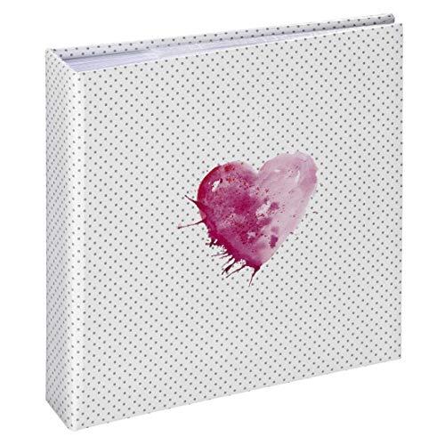 """Hama Album traditionnel """"Lazise"""" (taille de l'album de 22,5 x 22 cm, pour 200 photos au format 10 cm x 15 cm, 100 pages, avec pochette CD, élégant) Blanc/Noir/Rose"""