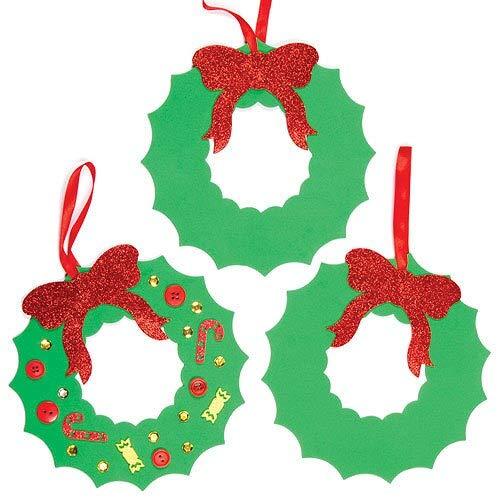 Baker Ross Couronnes de Noël en mousse verte à décorer (lot