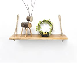Strong Carrying Capacity Wood Wall Shelf With Hemp Rope Shelves Wall Hanging For Living Room As Bookshelf Storage Rack Mou...