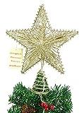 10 'elástico estrella Champagne Con luces LED blanco cálido - Christmas Tree Top Star /...
