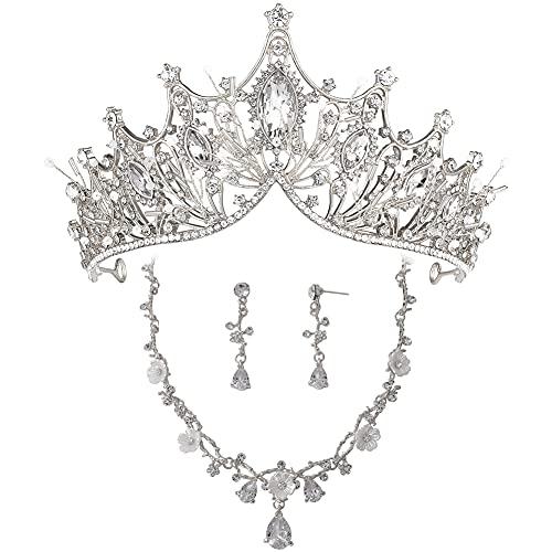 Hochzeitskrone für Braut, Königin Krone mit Ohrring und Kette, Prinzessin Tiara Geburtstag Erwachsene, Geburtstagskrone Mädchen, Handgemachter Haarschmuck, Diadem Hochzeit Silber