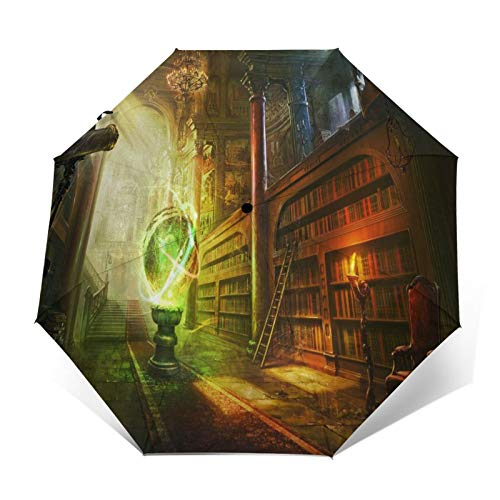 TISAGUER Regenschirm Taschenschirm,Alte Kunstbibliothek,Globus,Auf Zu Automatik,windsicher,stabil