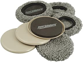 SuperSliders 4703895N Multi-Surface 2-in-1 Reusable Furniture Carpet Sliders with Hardwood Socks- Protect & Slide on Any Surface 3-1/4