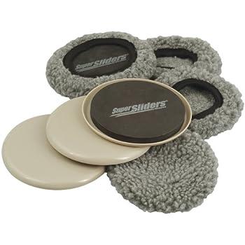 Supersliders 4703995N Multi-Surface 2-in-1 Reusable Furniture Carpet Sliders with Hardwood Socks- Protect & Slide on Any Surface 5  Linen  4 Pack