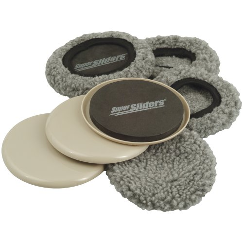 """SuperSliders 4703895N Multi-Surface 2-in-1 Reusable Furniture Carpet Sliders with Hardwood Socks- Protect & Slide on Any Surface 3-1/2"""" Linen (4 Pack), color may vary"""