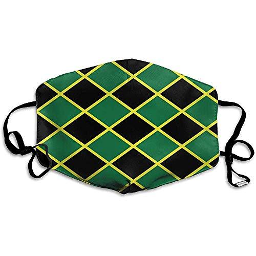 Comfortabele twee lagen stofmasker, zachte Jamaicaanse vlag streep Caribisch eiland gezicht masker Cover mond voor volwassenen en tieners