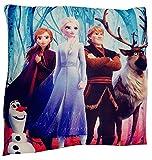 Disney Frozen 2 - coussin réversible imprimé sur le devant et le dos avec Anna avec Olaf et Elsa 40x40 cm, 1 oreiller - 2 motifs, Oeko Tex Standard 100
