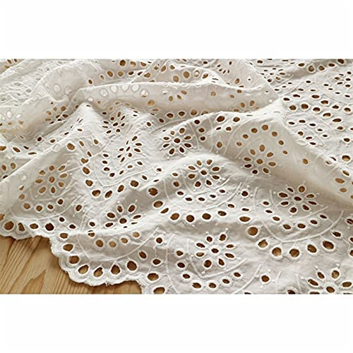 YDONGIIU Tissus en Dentelle De Coton, 0.5x1,3 Cm Blanc Creux Brodé Robe De Mode Tulle Tulle Tissu Coton 100% for Le Mariage Princesse De Mariage Brocart (Color : 1 White)