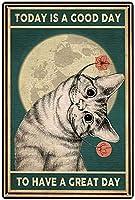 ウォールステッカーペット猫ガーデニング超耐久性ブリキサインレトロバーピープルケーブカフェガレージホームウォールデコレーションサイン8x12インチ