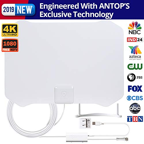 ANTOP Paper Thin Smartpass Amplified Indoor HDTV Antenna,with High Gain and Built-in 4G LTE Filter–35/50 Mile Long Range 360 Degree Reception – 10ft Cable - 4K UHD Ready,