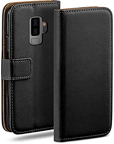 moex Klapphülle kompatibel mit Samsung Galaxy S9 Plus Hülle klappbar, Handyhülle mit Kartenfach, 360 Grad Flip Hülle, Vegan Leder Handytasche, Schwarz
