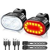 Luz Bicicletas LED, Luces Bicicleta Recargable USB, Luz Delantera Ultrabrillantes para Bicicleta y Trasera kit, IPX5 Impermeable Luces Potentes Bicicleta Carretera y Montana Juego de Modo 4/6