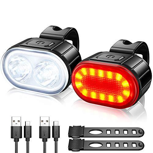 Lumiere Velo Ensemble, Eclairage Velo a LED Puissant Kit, Lampe Velo IPX5 Etanche Feux de Vélo Rechargeables par USB, Lumière Velo Route Avant et Arrière pour Hommes et Femmes Enfant 4/6 modes