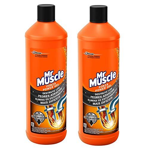 Mr Muscle - Forza Desatascador Gel Power. Gel limpia tuberías. Desatascador líquido potente desagües, Pack 1+1, 2 Unidades de 1L cada una