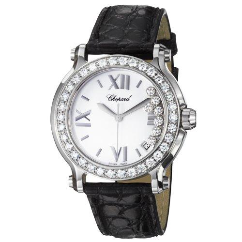 Chopard Happy sport rotondo orologio da donna con cinturino in pelle nero...