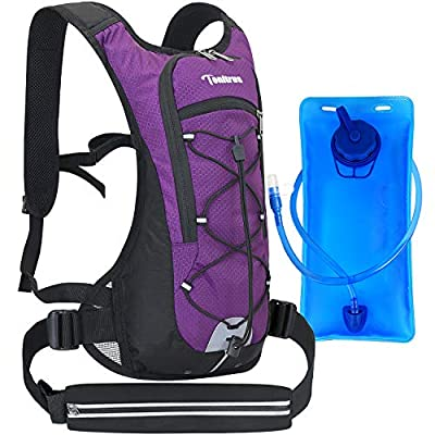 Tonitrus Hydration Backpack with Sport Waist Pouch, 70oz Water Bladder Backpack for Man Women Kid, Lightweight Nylon Hydration Pack for Hiking Camping Cycling Running (Pruple)