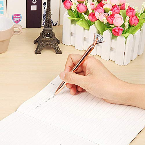 2PCS Rose Gold Diamond Pens with Crystal Diamond Ballpoint Pen Bling Metal Ballpoint Pen with 10pcs Refills for Offices School Weeding Party Photo #3