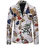 Men's Vintage Floral Blazer Slim Fit Two Button Turn-Down Collar Long Sleeve Party Jacket Sports Coat Business Lapel Suit White