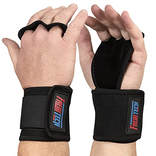 Frebitech Cross fit Grips,3 Hole Leather Hand Grips, Gymnastics Hand Grips with Wrist Wraps, Prevent Blisters & Rips,Hand Grips for Weightlifting, Pull Ups, WODs and Crossfit Womens Training Gloves