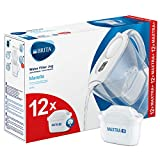BRITA Marella Fridge water filter jug for reduction of chlorine, limescale and impuities, White, Includes 12 x MAXTRA+ filter cartridges, 2.4L
