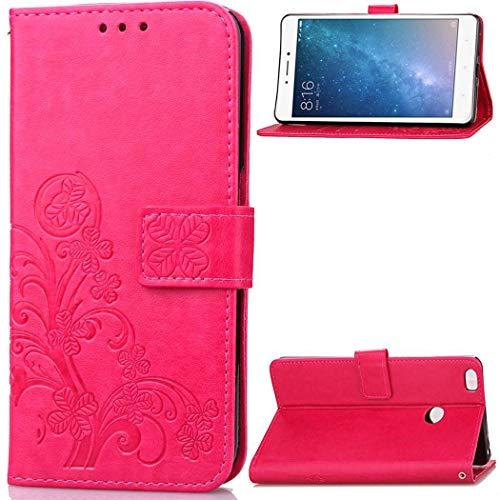 Ycloud Billetera Funda para Xiaomi Mi MAX 2 Smartphone, PU Cuero Flip Magnético Carcasa con Soporte y Ranura para Tarjeta Trébol de Cuatro Hojas Relieve (Rosa Roja)