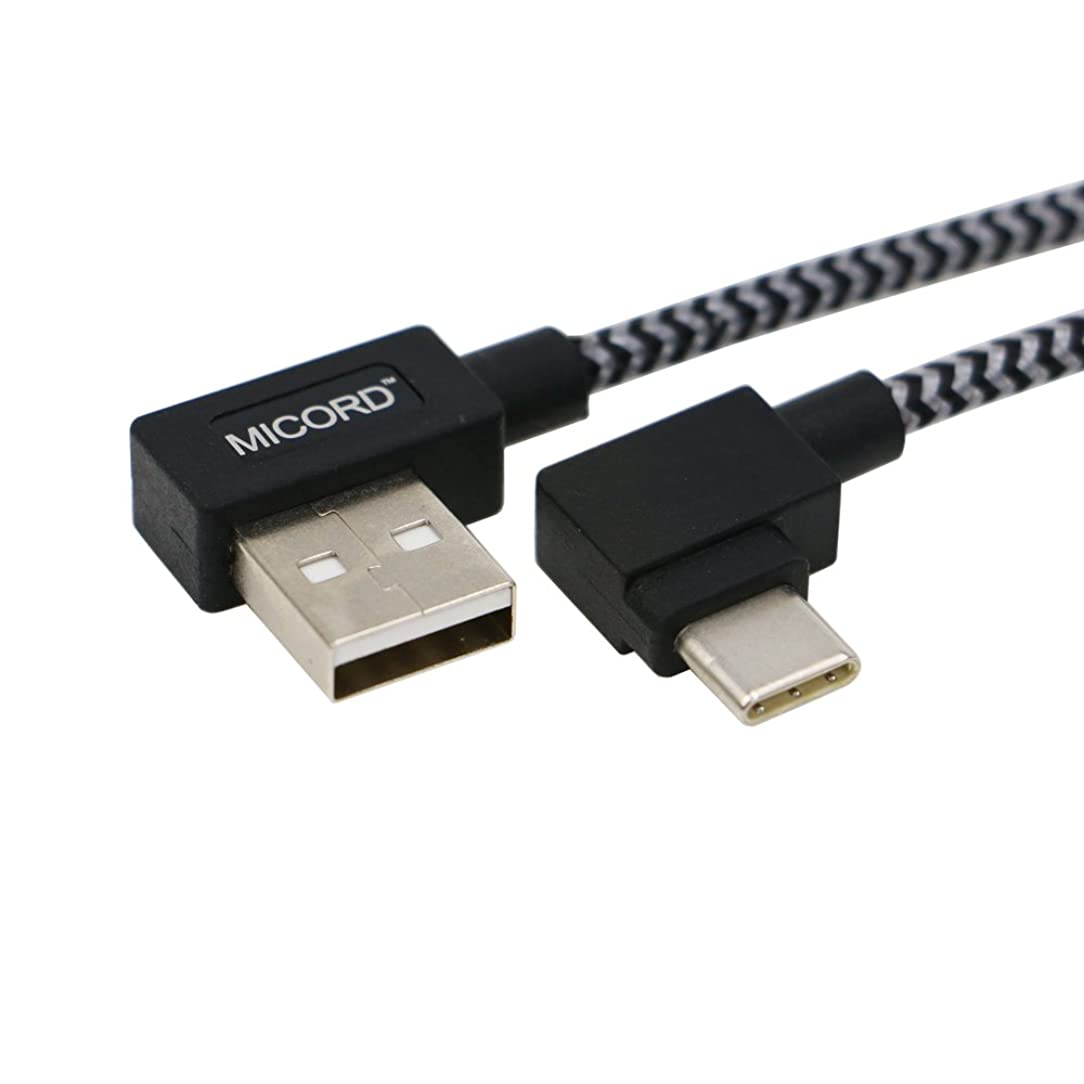 Micord 3.3ft Right Angle Type C Cable, 90 Degree USB 3.1 Type C (USB-C) Male to USB 2.0 Type A Male Connector Sync & Charging Cable for Apple New Macbook 12 Inch, Nokia N1 ect (Black)