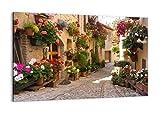 Bild auf Leinwand - Leinwandbild - Blume Straße Haus -