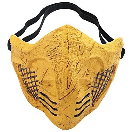 Mortal Kombat 11 Mask Scorpion Halloween Cosplay Costume Accessory Prop Resin Gold